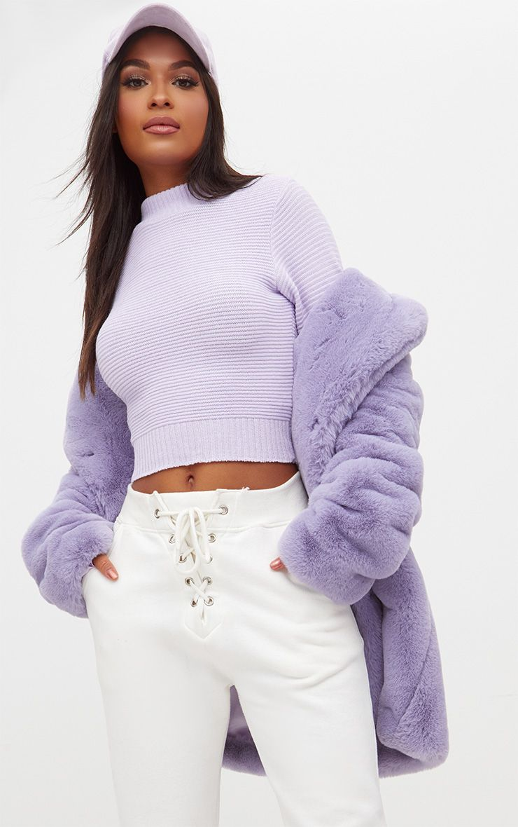 Lilac Ribbed Cropped Knitted Jumper