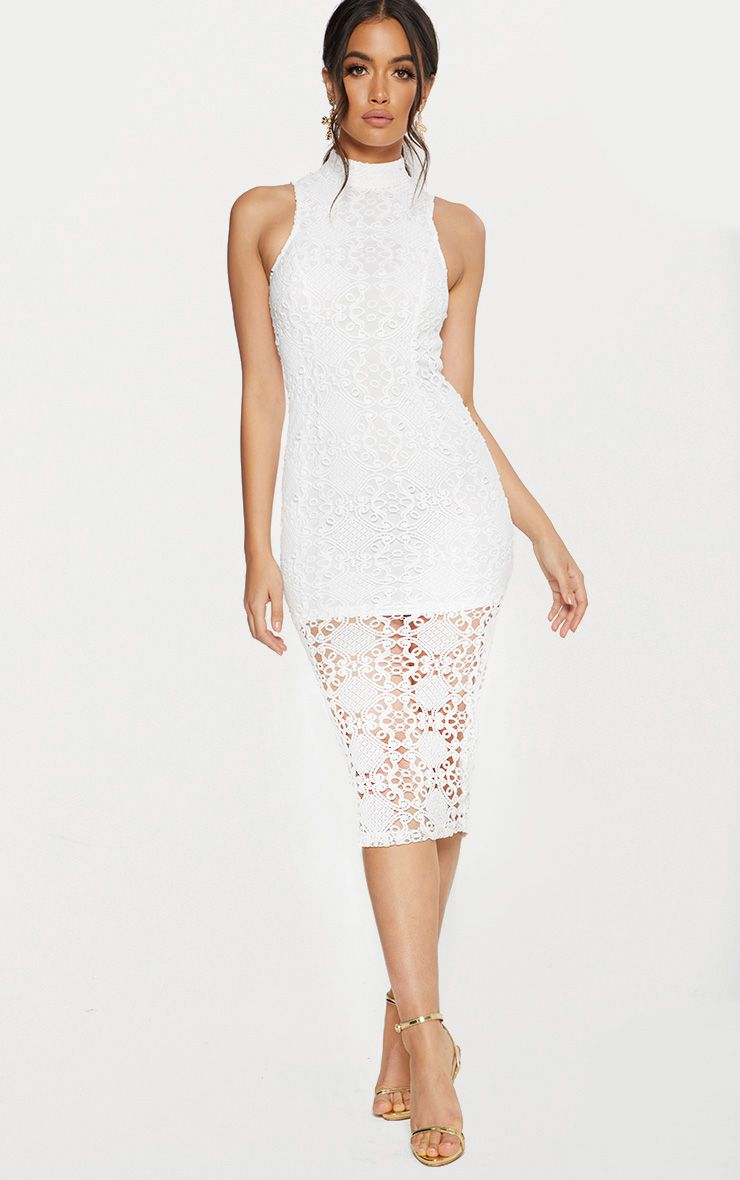 White High Neck Lace Midi Dress