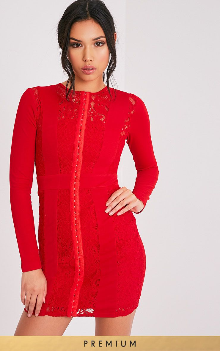 Issie Red Long Sleeve Lace Panel Bodycon Dress