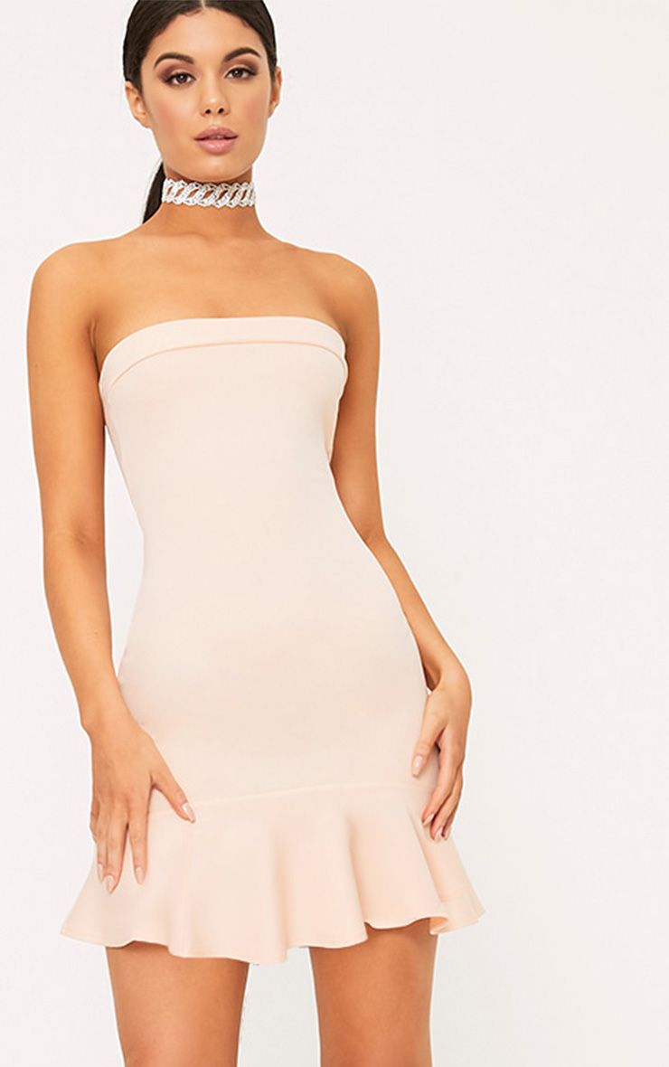 Amallia Nude Bandeau Frill Hem Bodycon Dress