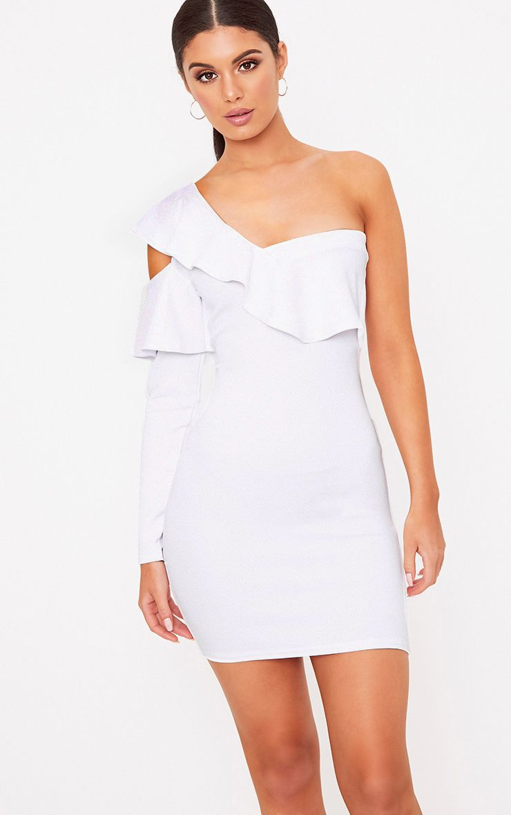 White One Shoulder Cold Shoulder Frill Bodycon Dress