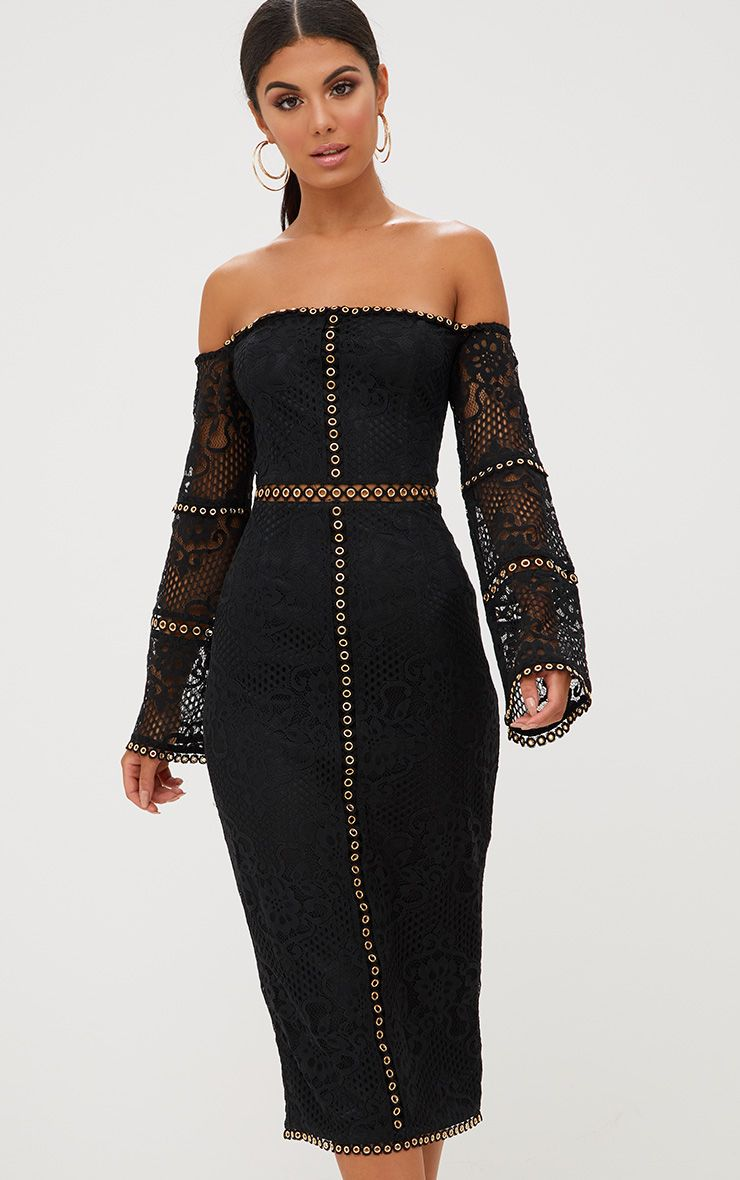 Black Lace Eyelet Detail Bardot Midi Dress