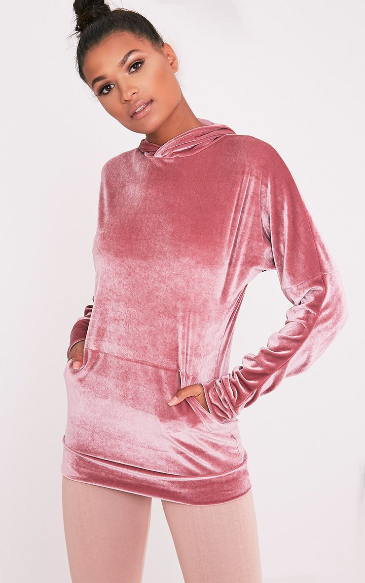 Mai Dusty Pink Velvet Pocket Front Ruched Sleeve Hoodie 1