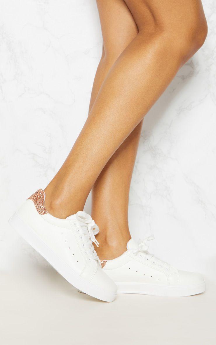 White Glitter Detail Flatform Sneaker