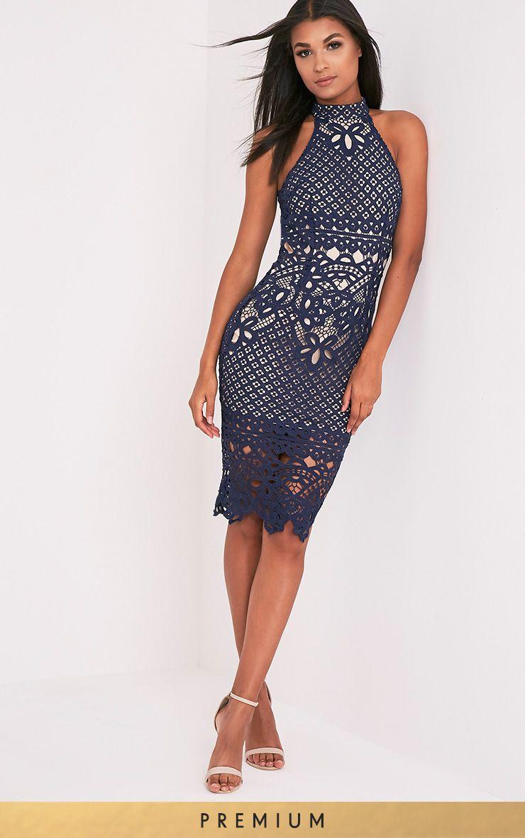 Hanny Navy Crochet Lace Backless Midi Dress