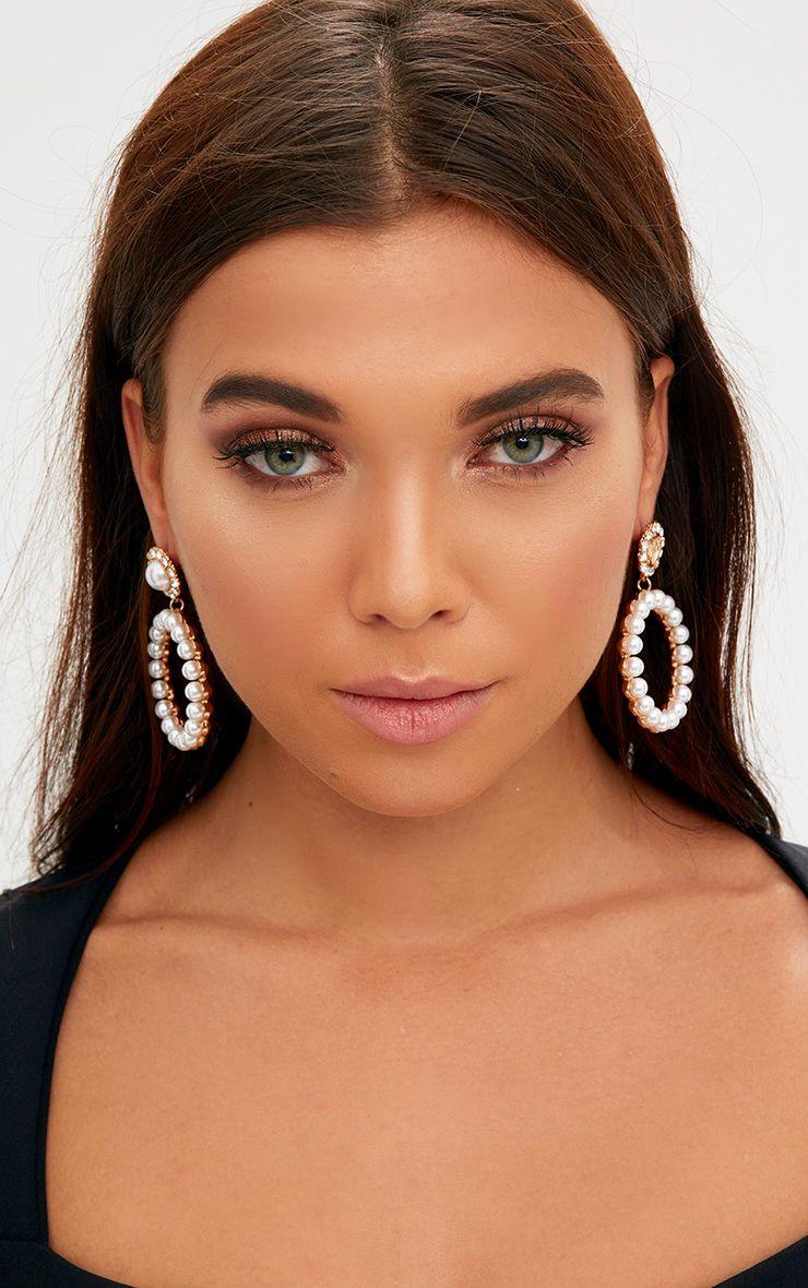 Gold Diamante & Pearl Circle Earrings