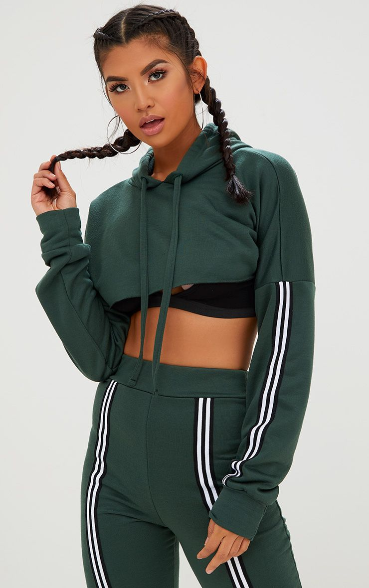 Forest Green Extreme Crop Track Stripe Hoodie