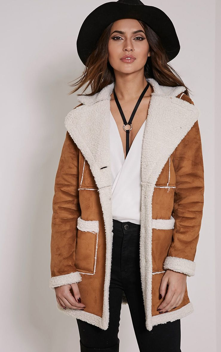Anisa Tan Faux Suede Two Tone Shearling Coat 1