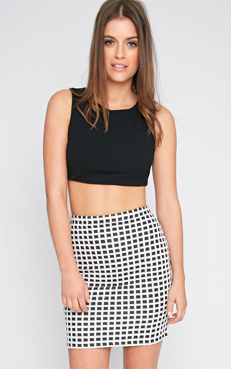 Maddy Monochrome Checked Mini Skirt  1