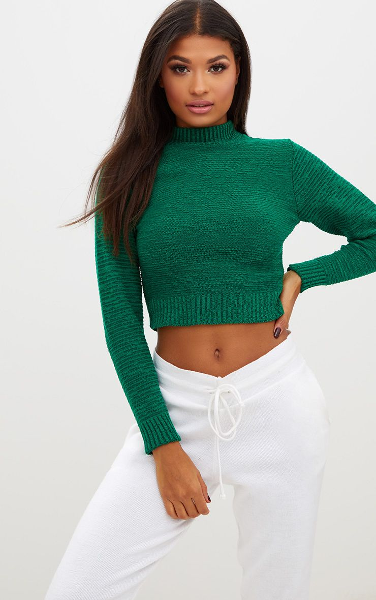Emerald Green Ribbed Cropped Knitted Jumper