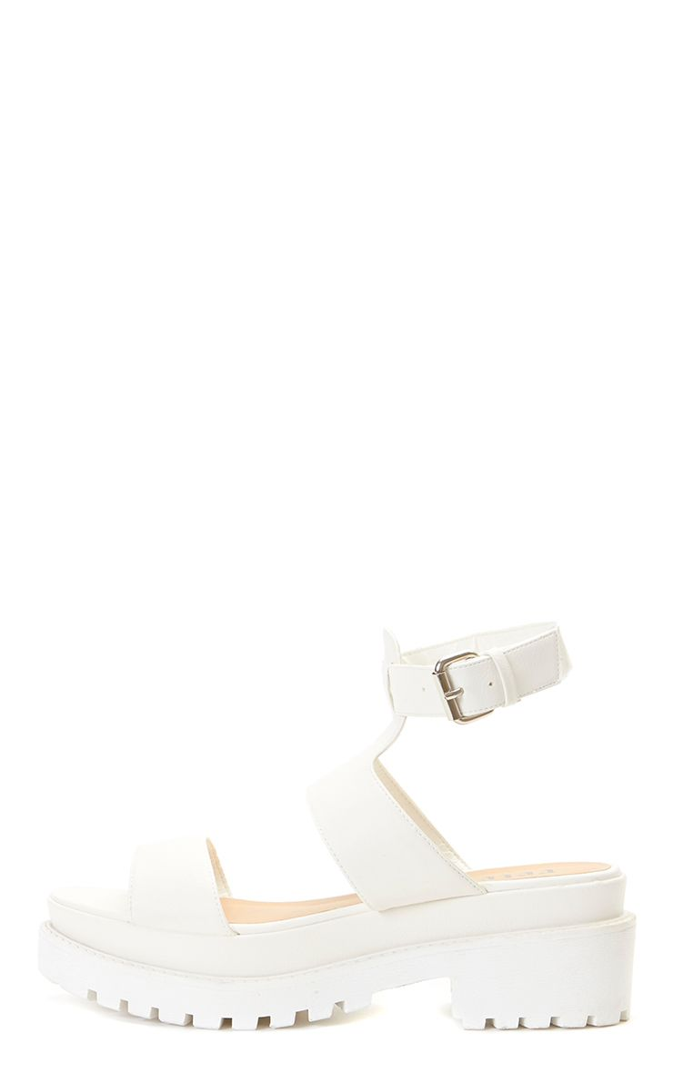 Antonia White Faux Leather Chunky Sandal  1