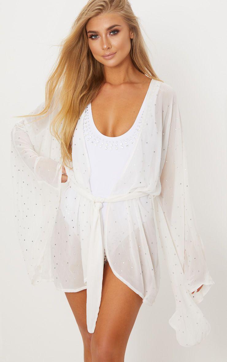 Premium White Diamante Short Kimono