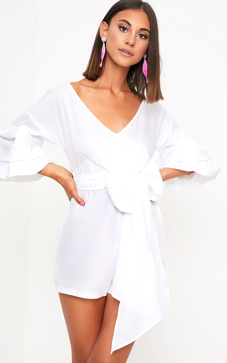 White Frill Sleeve Tie Waist Playsuit