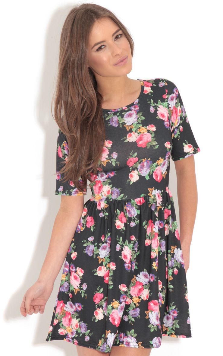Christie Black Floral Skater Dress  1