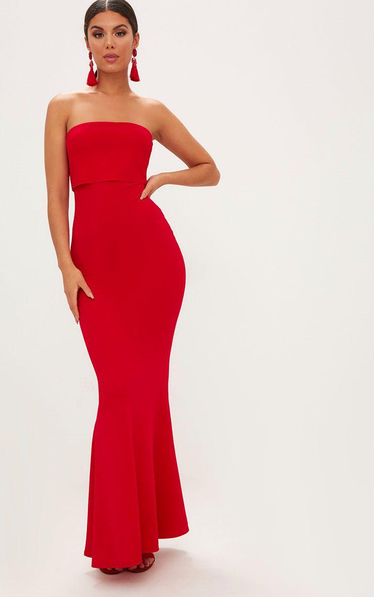 Red Bandeau Frill Hem Maxi Dress Dresses Prettylittlething