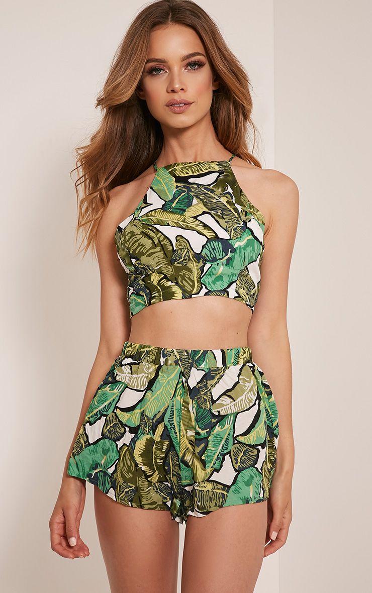 Sade Green Jungle Print Tie Back Crop Top