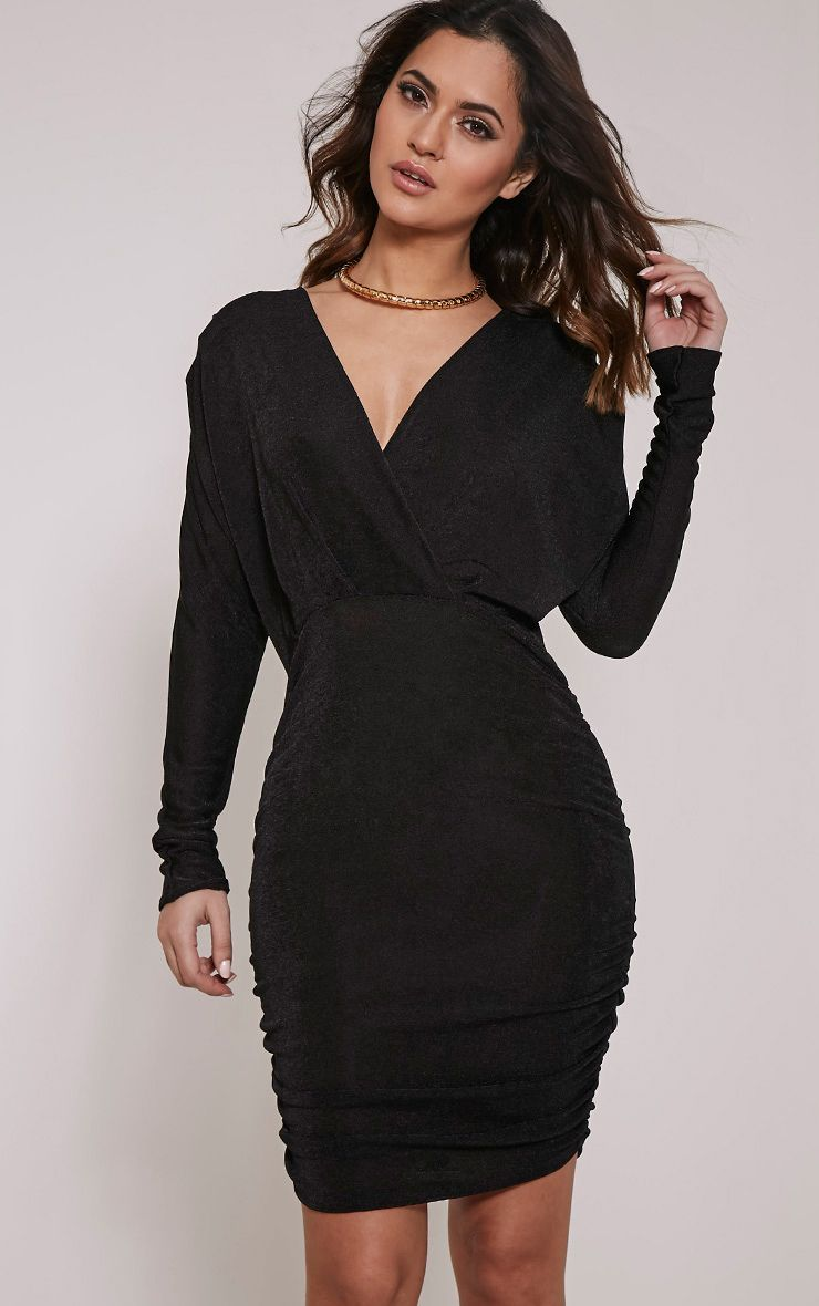 Gabrielle Black Cape Ruched Bodycon Dress 1