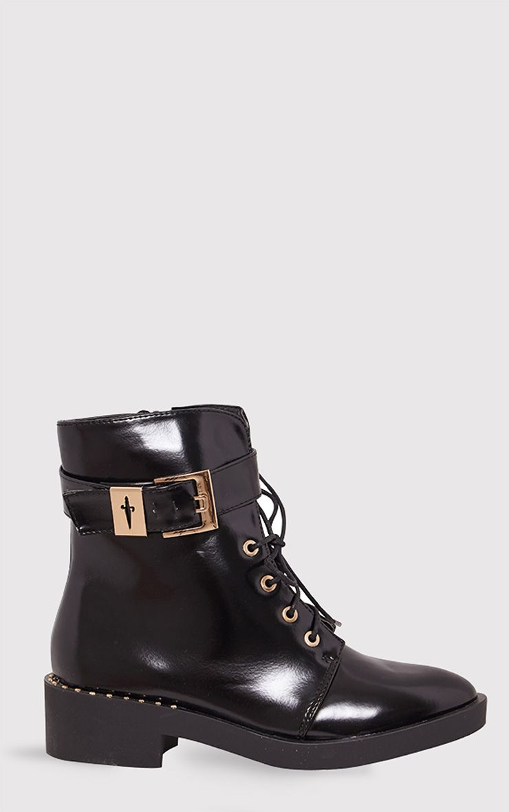 Quinn Black Faux Leather Lace Up Army Boots