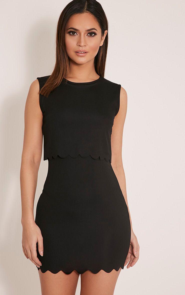 Madaleine Black Scallop Detail Sleveless Bodycon Dress 1