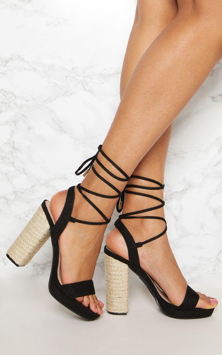 Black Espadrille Platform Leg Tie Sandal