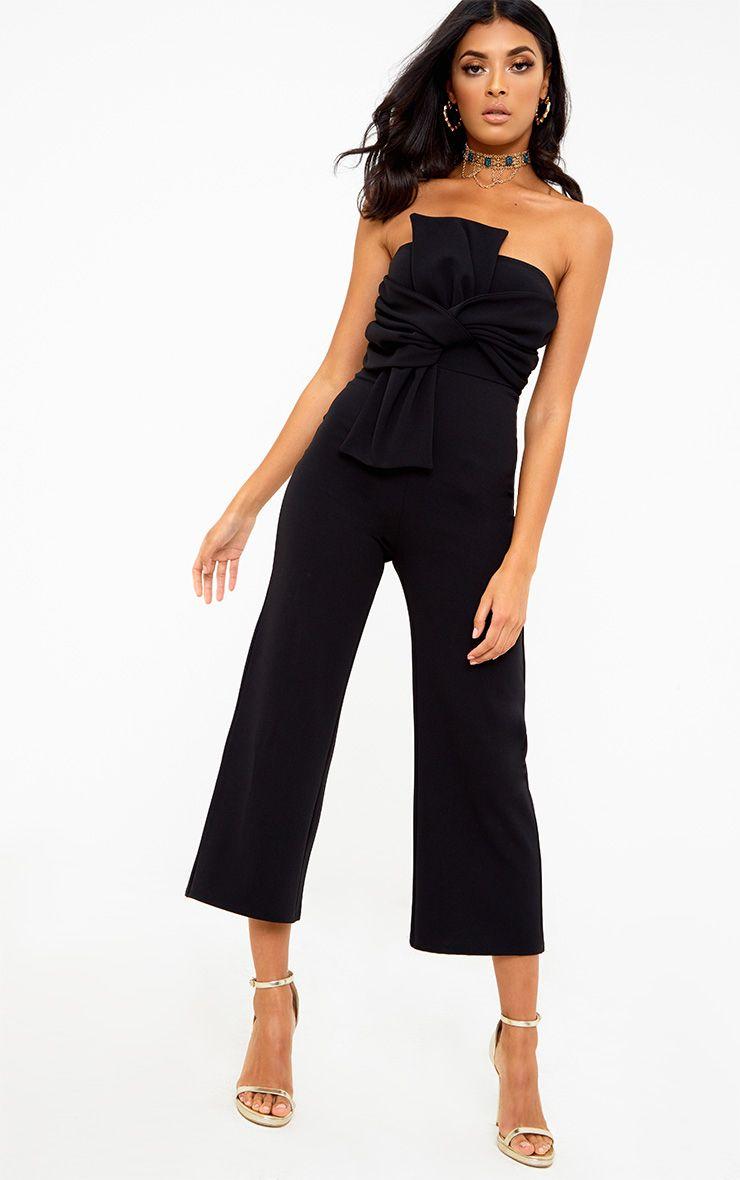 Black Bow Bandeau Culotte Jumpsuit