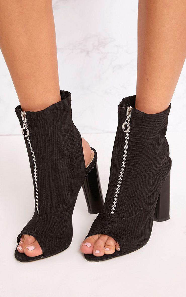 Gebriel bottes-chaussettes zippées à anneau noires