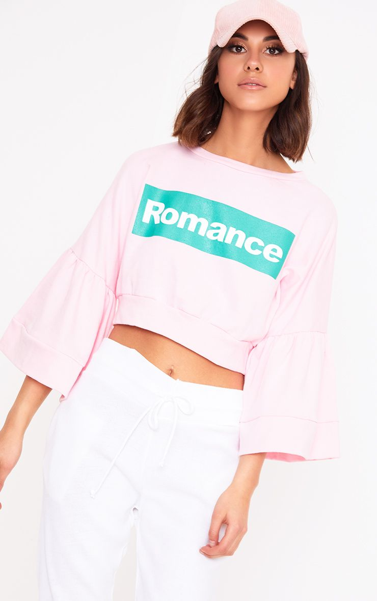 Baby Pink Romance Slogan Balloon Sleeve Cropped Sweater