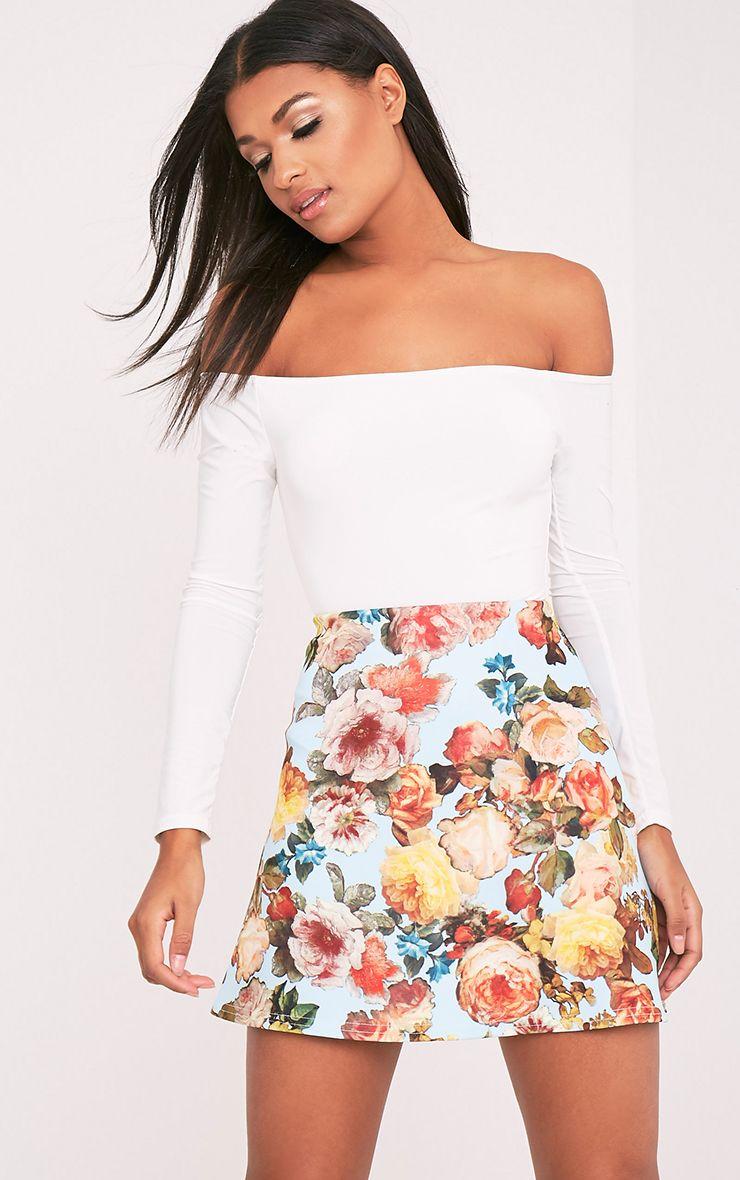 Tamira Blue Floral A-Line Mini Skirt 1