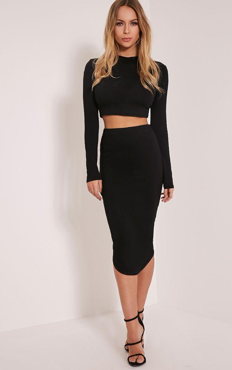 Ariana Black Curved Hem Midi Skirt 1