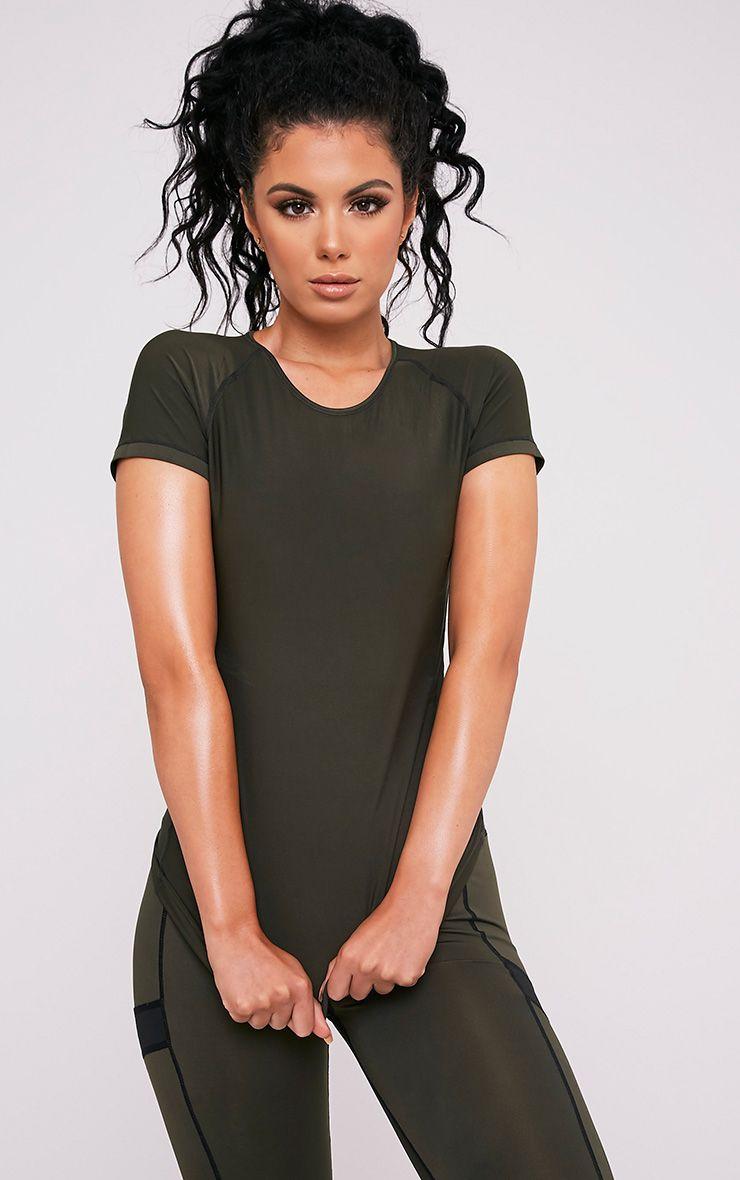 Tia Khaki Short Sleeve Gym T-Shirt