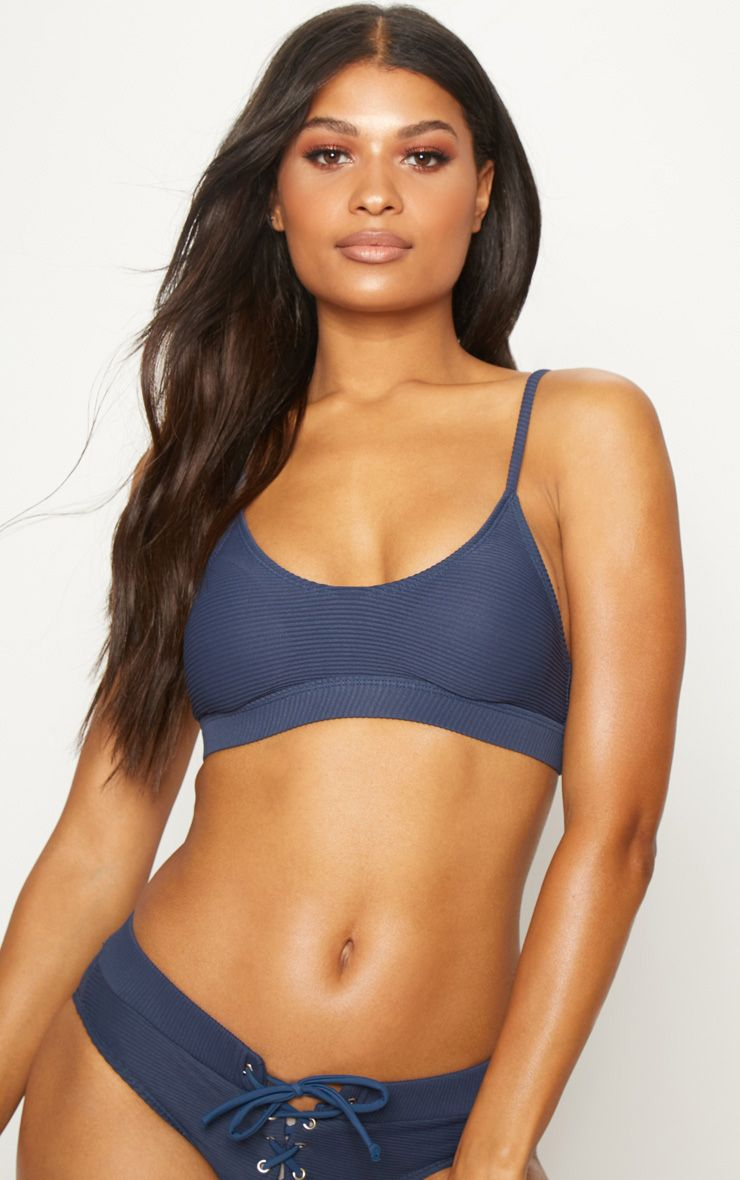 Navy Ribbed Scoop Neck Bikini Top