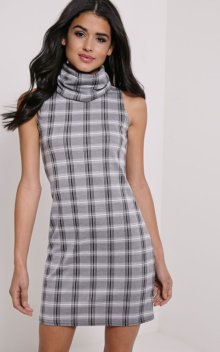 Layanna Grey Roll Neck Check Swing Dress 1