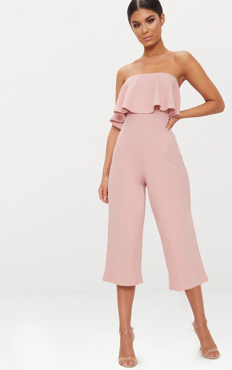 Dusty Pink Bardot Double Layer Culotte Jumpsuit