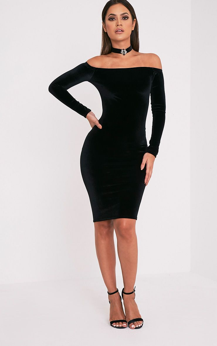 Kimmia Black Velvet Bardot Midi Dress 1