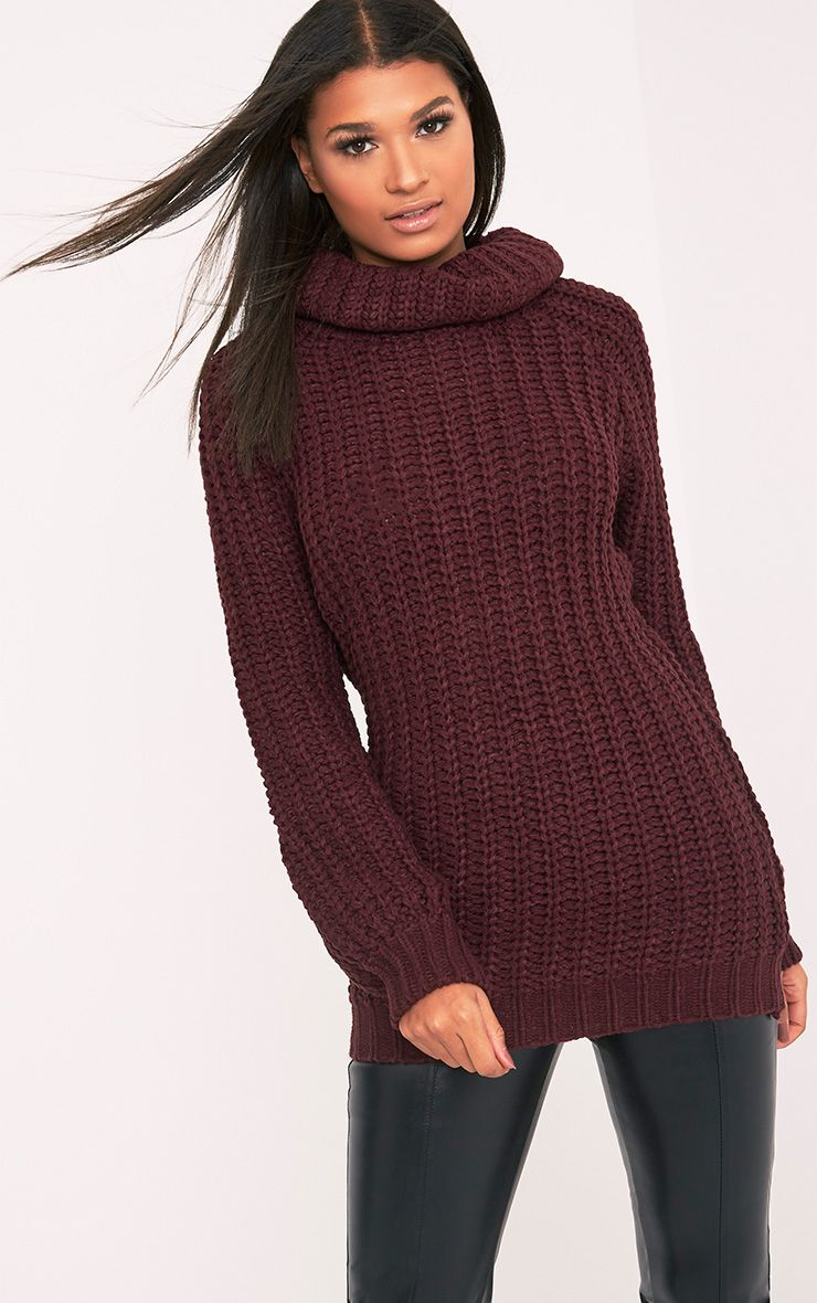 Shainel Burgundy Roll Neck Chunky Knit Jumper