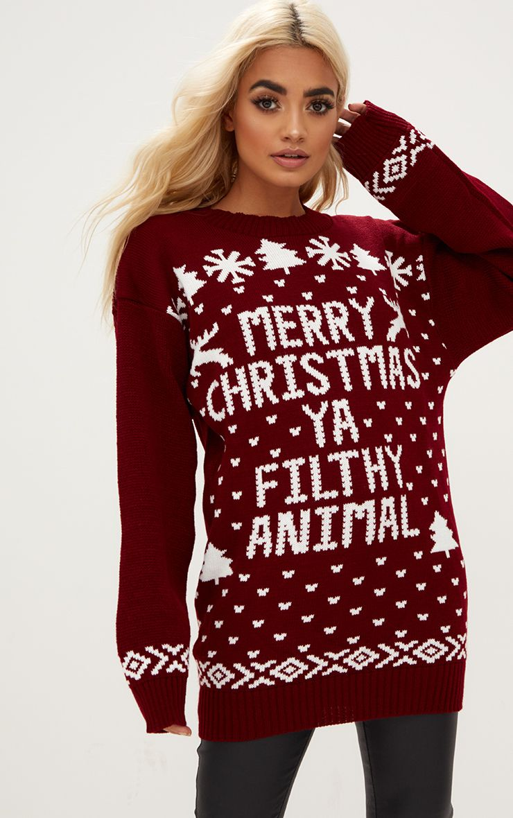 Burgundy Merry Christmas Ya Filthy Animal Christmas Jumper 1