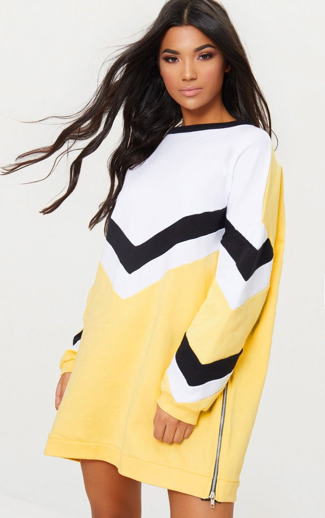 Whtie Chevron Oversized Jumper Dress