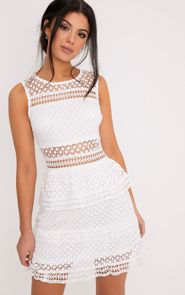 Dyani White Sleeveless Lace Dress