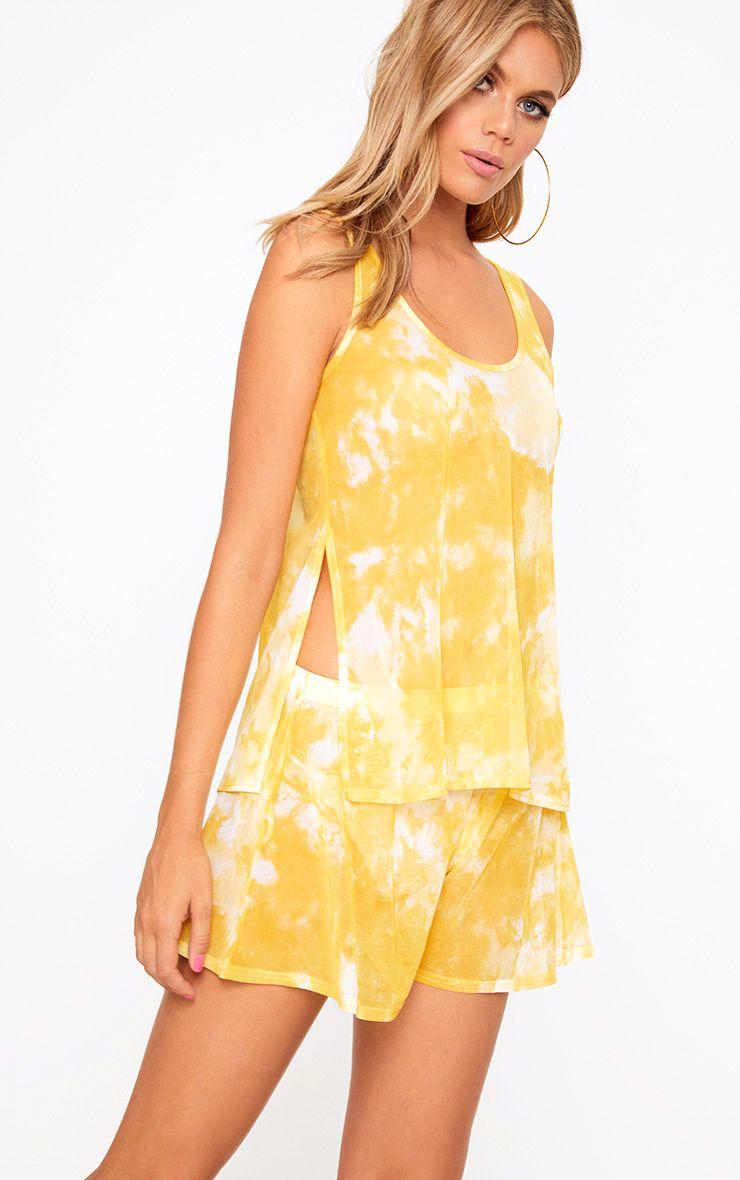 yellow mesh tie dye beach longline top