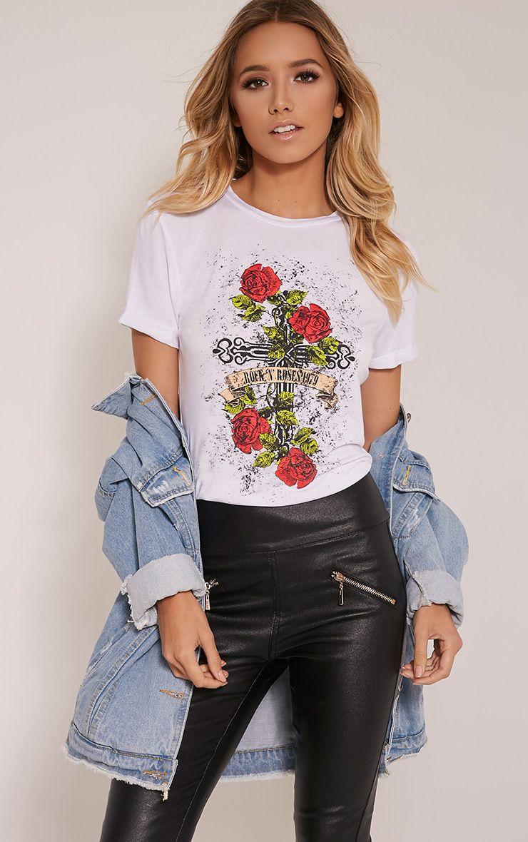 Rock & Roses White Slogan T-Shirt