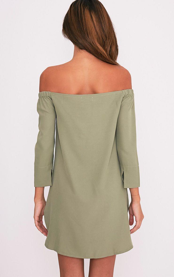 Kandle robe trapèze bardot vert sauge à ourlet arrondi 3