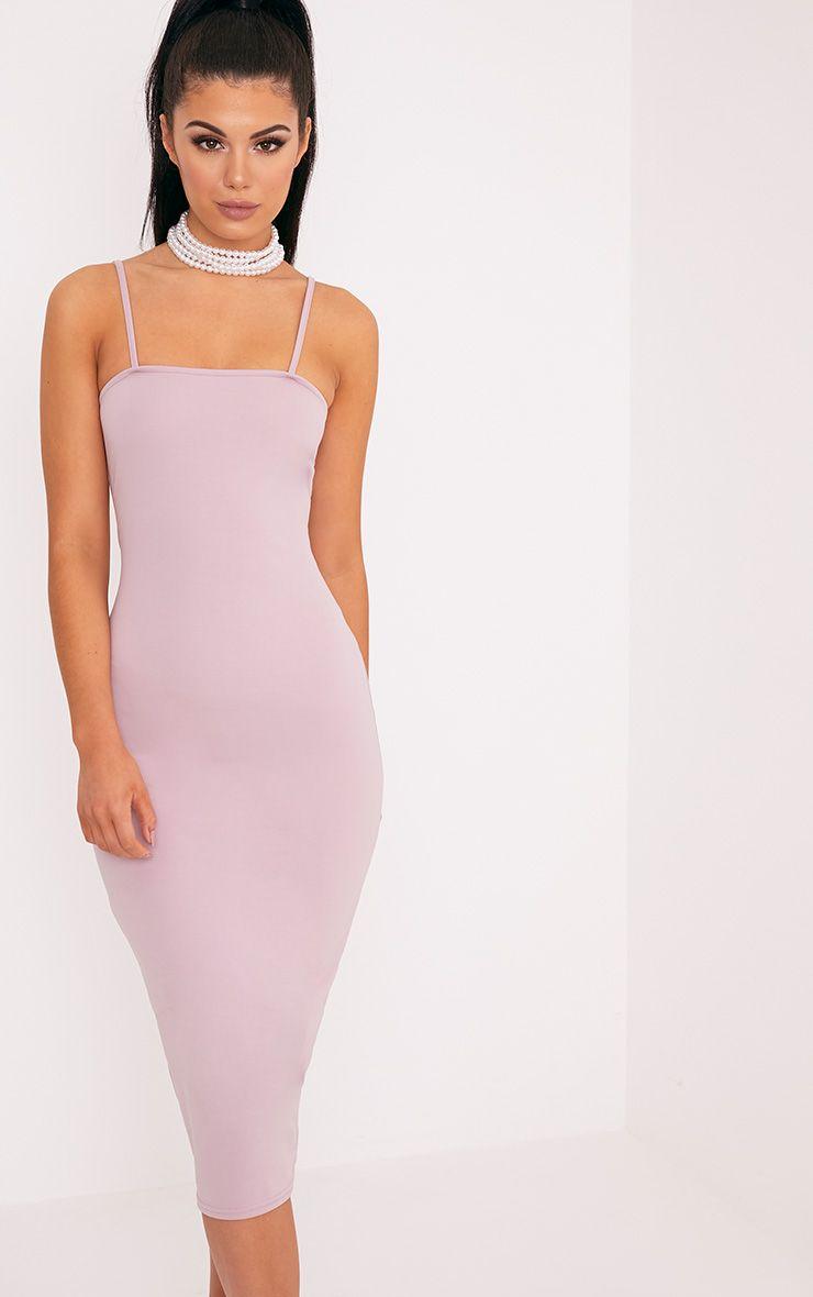 Jamila Lilac Straight Neck Midi Dress