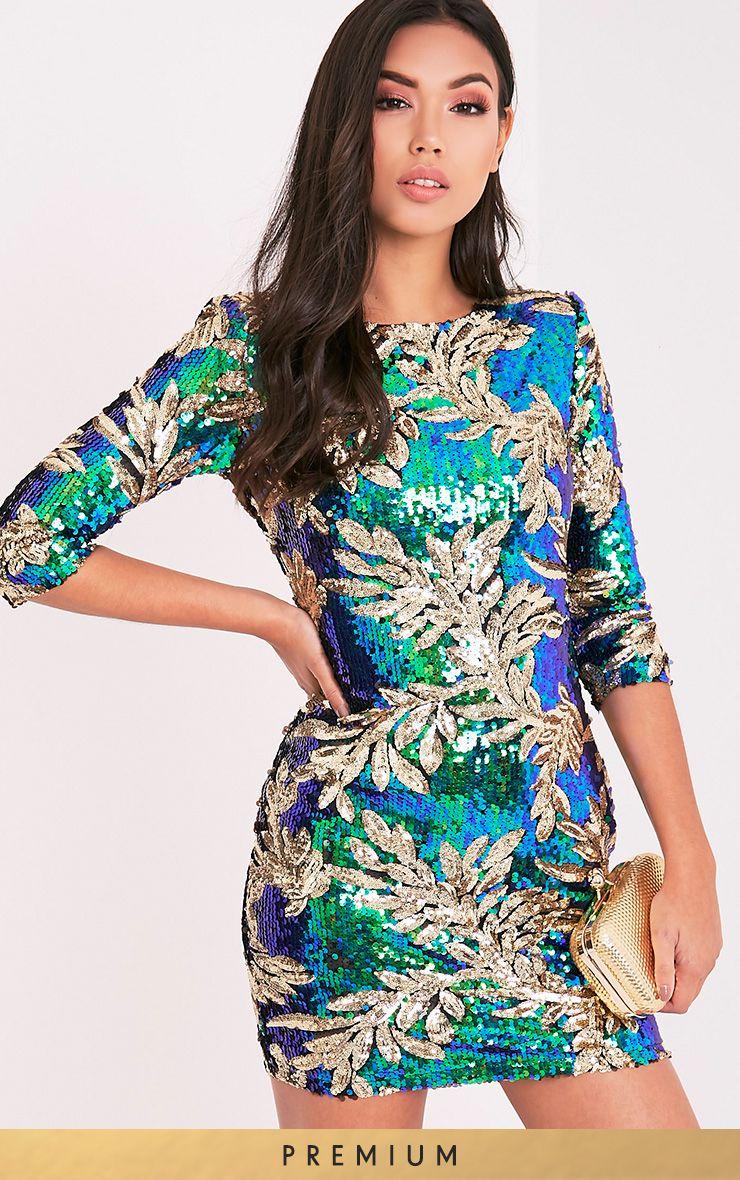 Naysie Green Sequin Bodycon Dress