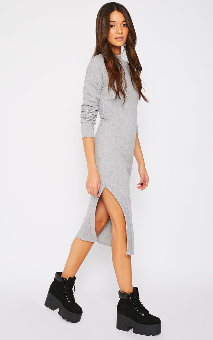 Francy Grey Maxi Side Slit Sweater Dress 1