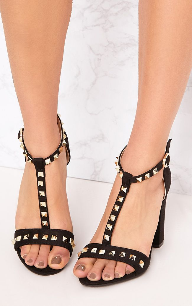 Marinda Black Studded Block Heels