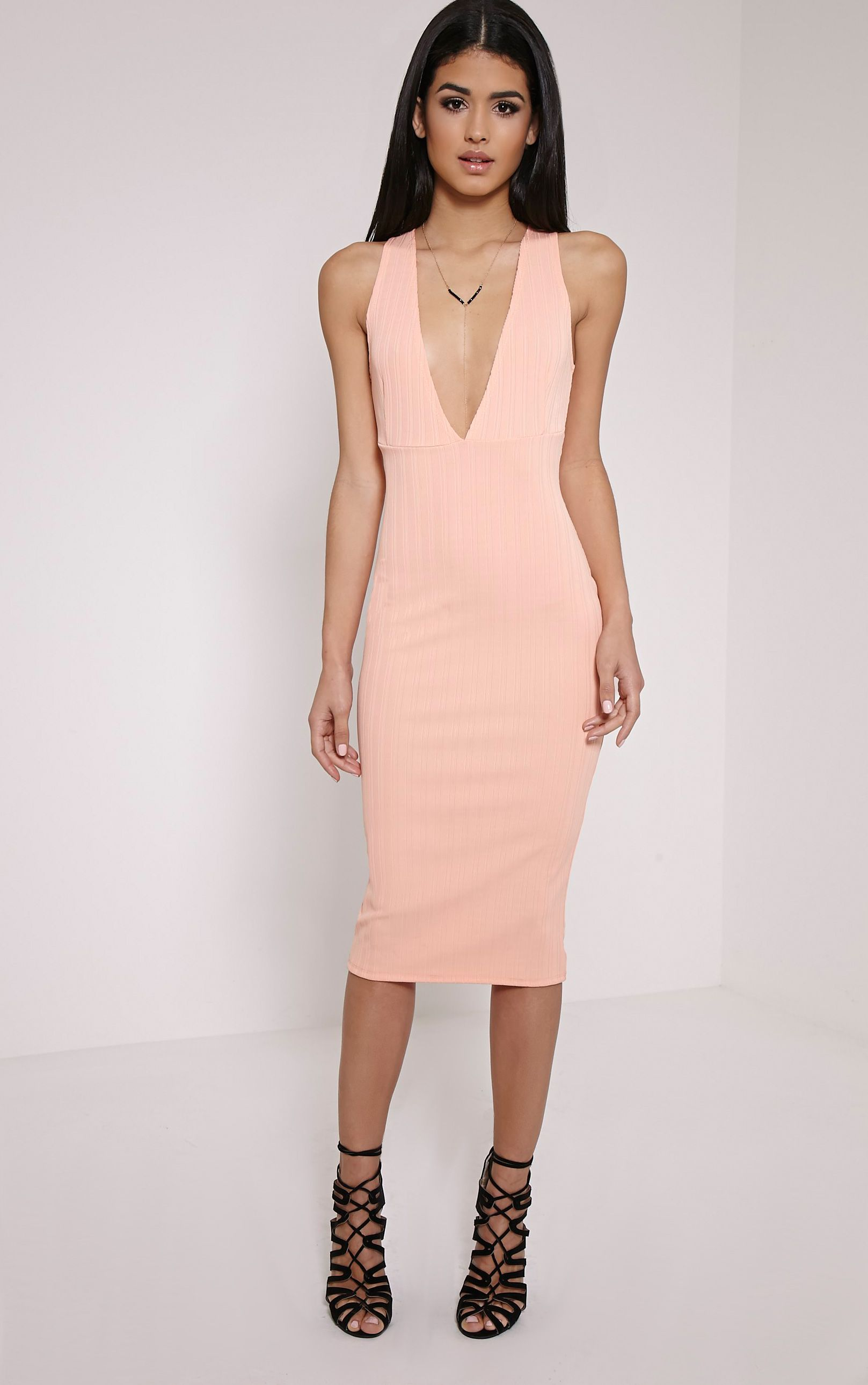 Isidora Peach Ribbed Deep V Midi Dress 1