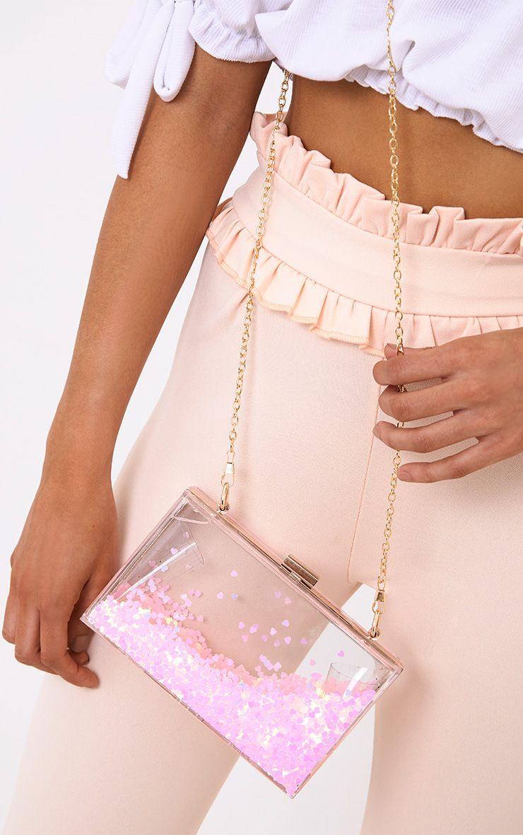 Pink Sequin Clear Box Clutch