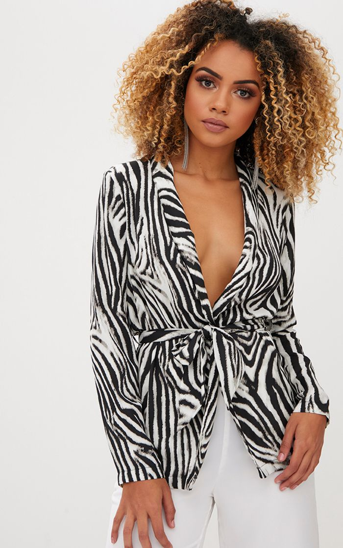 Zebra Stripe Belted Blazer