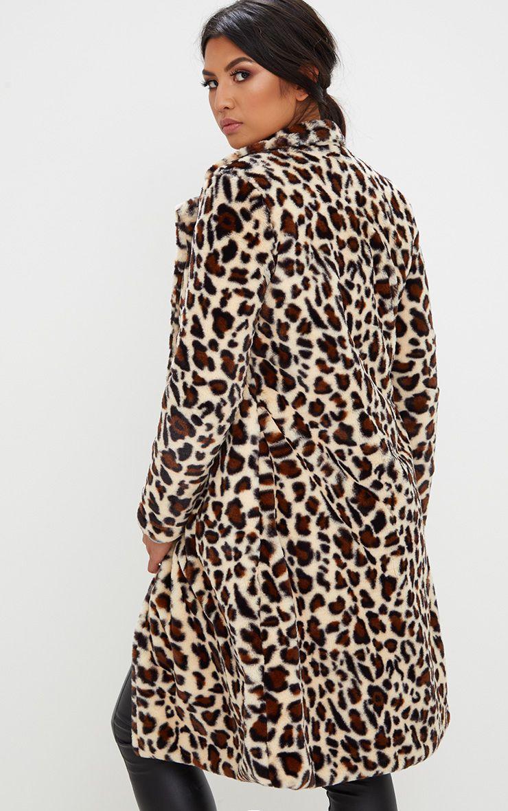 manteau long en fausse fourrure imprim l opard manteaux. Black Bedroom Furniture Sets. Home Design Ideas
