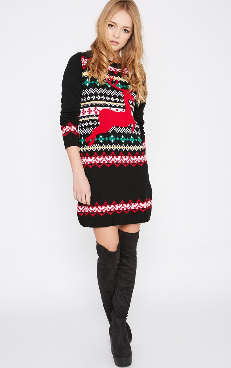 Darina Black Reindeer Christmas Jumper Dress 1